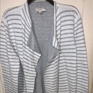 LOFT grey and white striped cardigan sweater LARGE